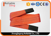 5 Ton Red Flat Polyester Webbing Sling , High Temperature Resistant Duplex Webbing Sling
