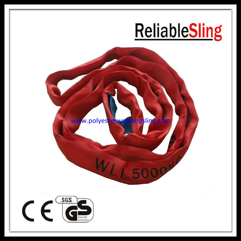 1T - 12T Endless Webbing Polyester Round Slings / construction slings