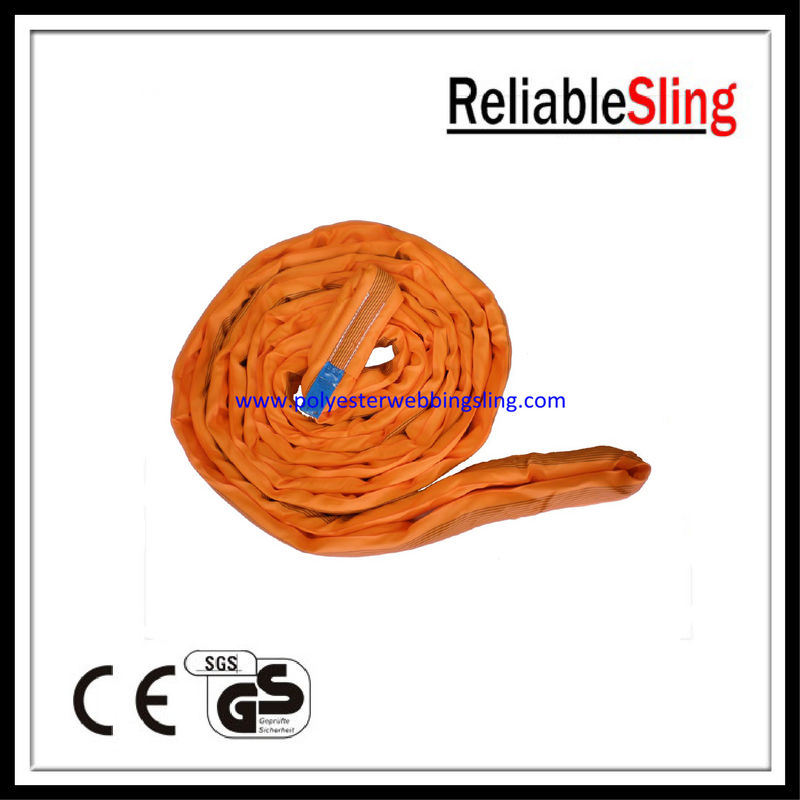 Low elongation polyester steel endless round lifting slings 10t , EN 1492-2
