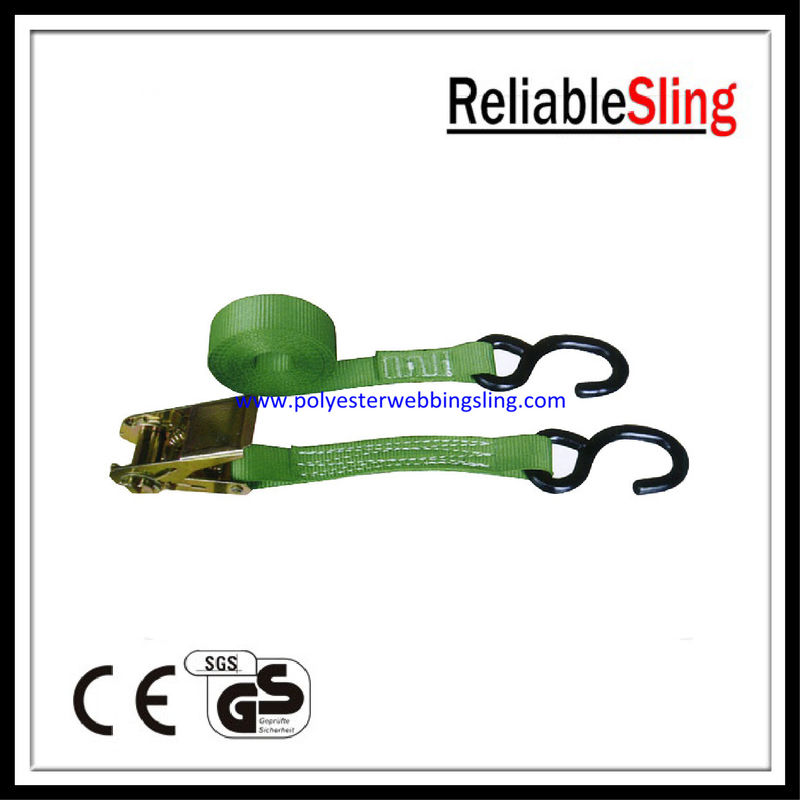 "1"" 25mm Motorcycle tie down strap with PE coated s hook / Breaking Strength 800kg"