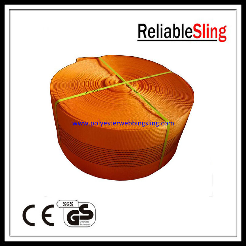 10 Ton Orange Polyester Webbing for lifting , polyester sling webbing