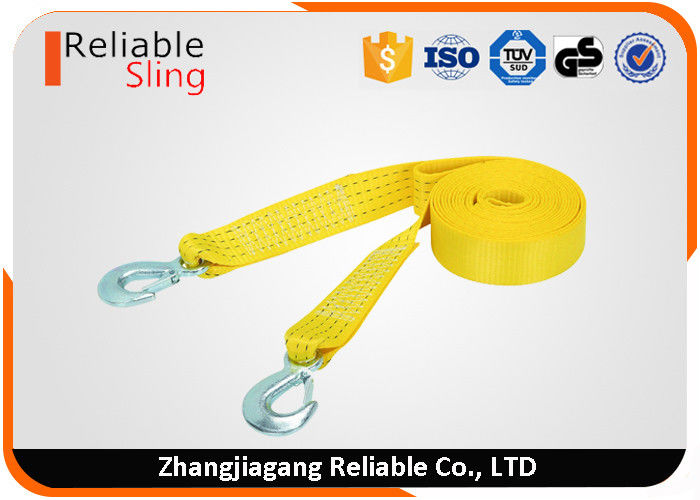 Heavy Duty Yellow Polyester Vehicle Tow Strap With Zinc Plated Forged Hooks