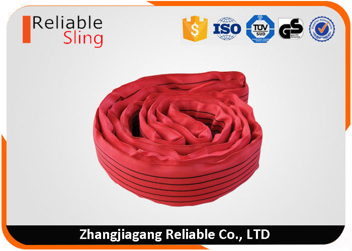 5 Tonnage wear resistant  polyester fibre red endless round lifting sling
