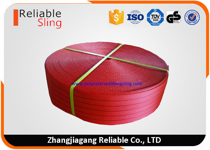 CE 125mm Red Polyester Webbing For Flat Sling Belt Safety Factor 6